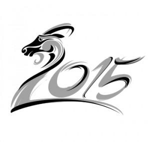 талисман 2015 года — сине-зеленая деревянная Коза (Овца)